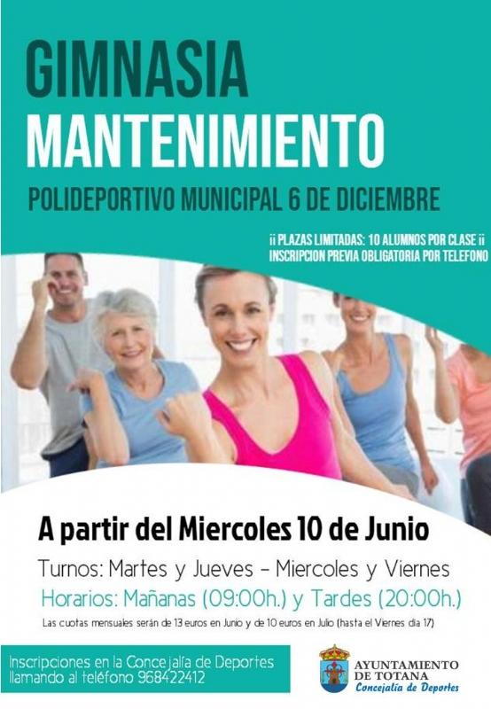 La Concejalía de Deportes retoma el Programa Municipal de Gimnasia de Mantenimiento en el Polideportivo Municipal