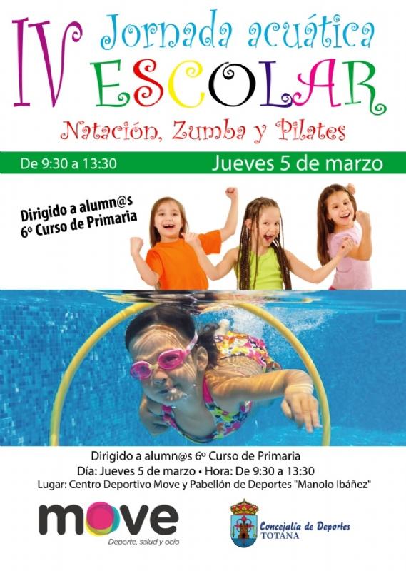 La  Concejalía de Deportes organiza mañana jueves 5 de marzo una Jornada Escolar Acuática, con la colaboración del Centro Deportivo MOVE