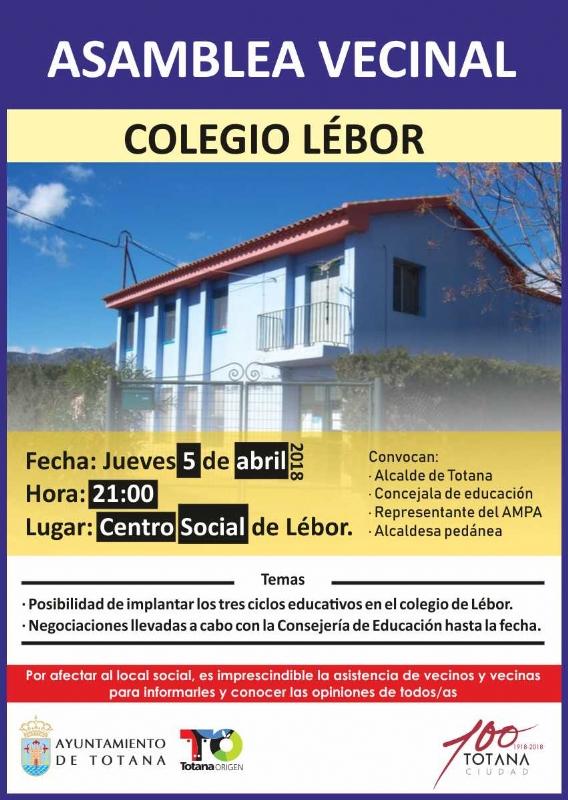 El Centro Social de Lébor acoge mañana 5 de abril (21:00 horas) una asamblea vecinal para tratar asuntos relacionados en materia de Educación con esta pedanía