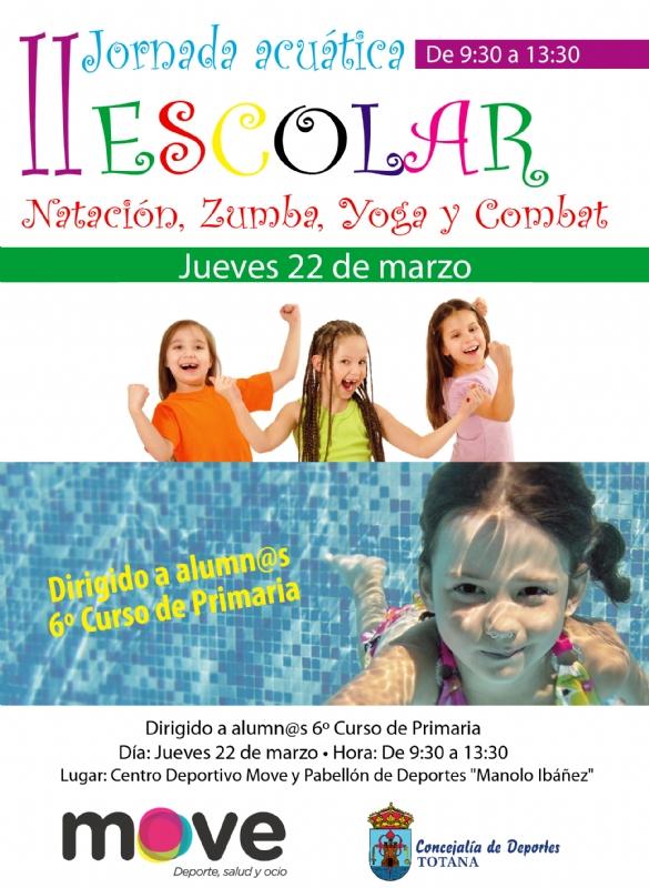 """Vídeo. Deportes y el Centro Deportivo """"MOVE"""" organizan la II Jornada Acuática Escolar el próximo 22 de marzo, dirigida a escolares de 6° de Educación Primaria de los centros educativos de Totana"""