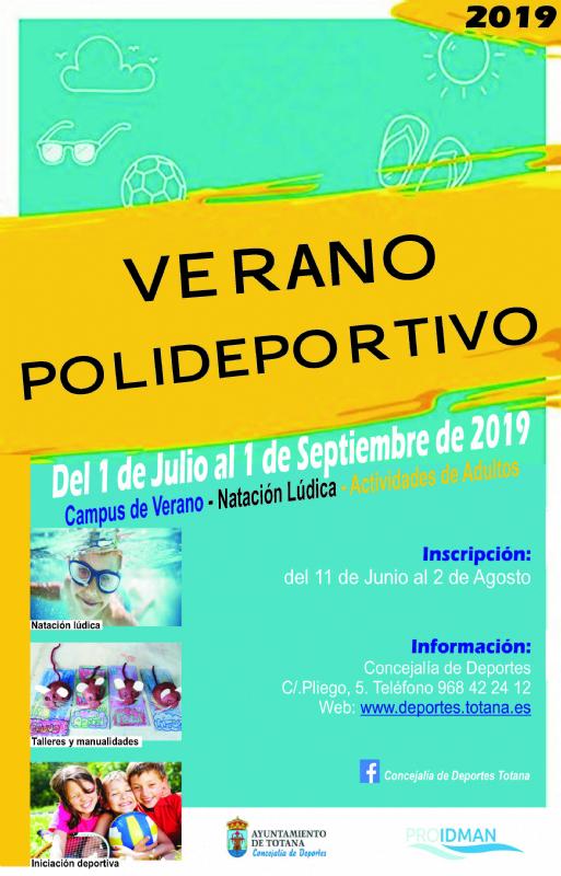 """Vídeo. El """"Verano Polideportivo"""" se oferta durante julio y agosto con una amplia oferta de actividades en el Polideportivo Municipal """"6 de Diciembre"""" y el Complejo """"Valle del Guadalentín"""""""