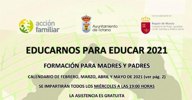 La Concejalía de Bienestar Social comunica que este miércoles 14 de abril se reanuda la Escuela de Padres, en la modalidad on line