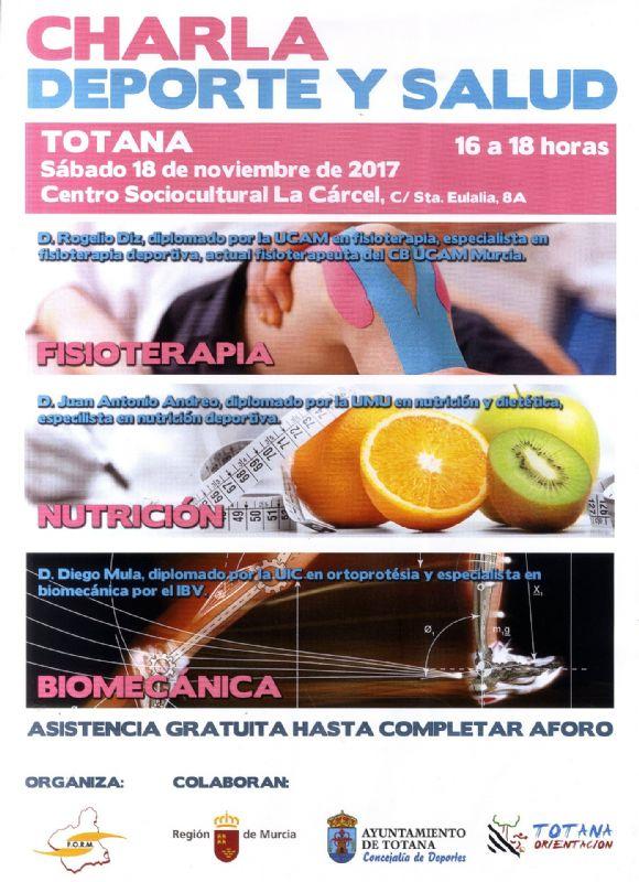 """Vídeo. El Club de Orientación de Totana organiza la Charla """"Deporte y Salud"""" el 18 de noviembre en el Centro Sociocultural """"La Cárcel"""", dirigida a deportistas de todos los clubes"""