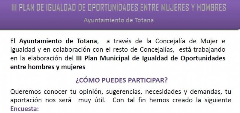 Encuesta III PLAN DE IGUALDAD DE OPORTUNIDADES ENTRE HOMBRES Y MUJERES DEL MUNICIPIO DE TOTANA