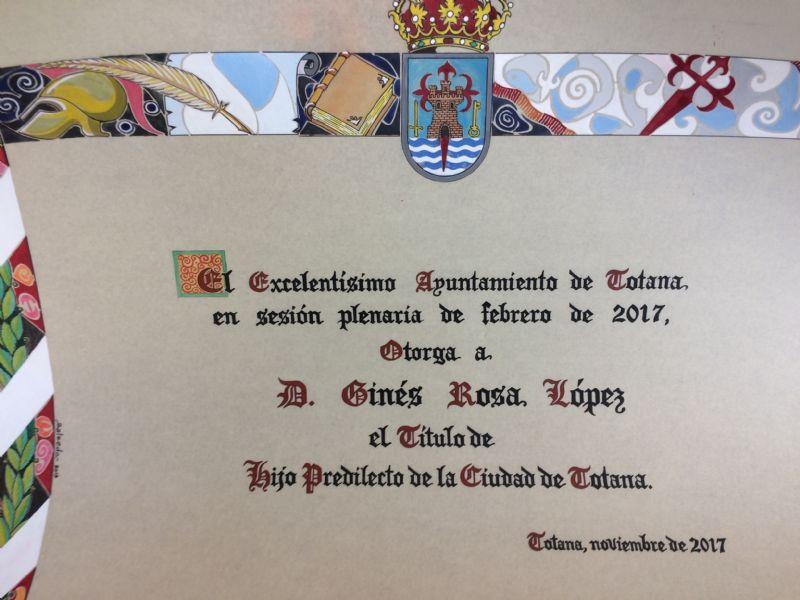 El acto de concesión del Título de Hijo Predilecto de la Ciudad de Totana al historiador Ginés Rosa será el 1 de diciembre (20:45 horas) en el marco de las fiestas de Santa Eulalia