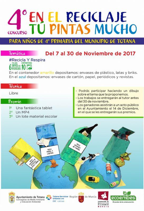 """Escolares de 4° de Educación Primaria participan este año en el concurso """"En el reciclaje, tú pintas mucho"""", dentro de la campaña de información y sensibilización ambiental """"Recicla y respira"""""""