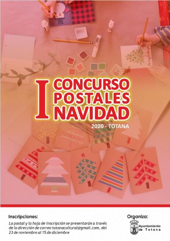 La Concejalía de Cultura organiza el I Concurso de Postales de Navidad-Totana 2020, cuyo plazo de inscripción estará abierto del 23 de noviembre al 15 de diciembre