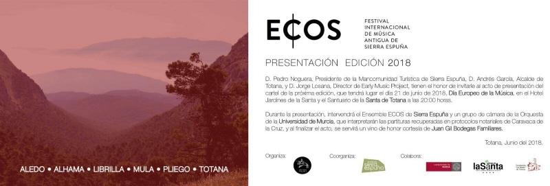 El ECOS Festival Internacional de Música Antigua de Sierra Espuña presenta su tercera edición este jueves en el Hotel Jardines de La Santa de Totana (20:00 horas)