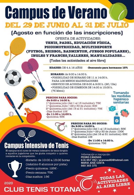 Vídeo. El Club de Tenis promueve  el Campus de Verano del 29 de junio al 31 de julio con una amplia oferta de actividades y horarios por quincenas