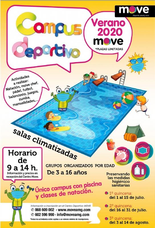 Vídeo. El Centro MOVE organiza el Campus Deportivo de Verano del 1 de julio al 14 de agosto, con piscina y clases de natación para grupos de 3 a 16 años
