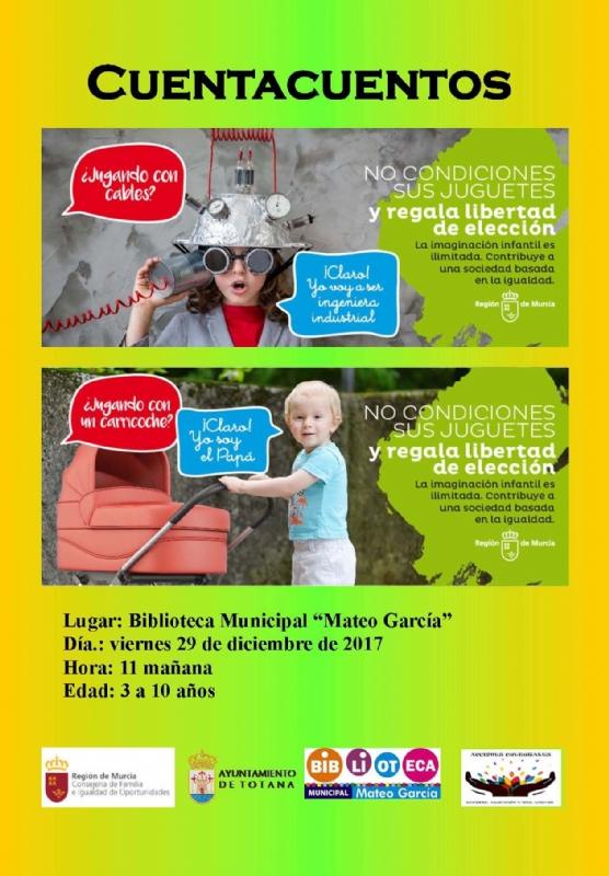 """La Biblioteca Municipal """"Mateo García"""" celebrará dos sesiones de Cuentacuentos los próximos días 26 y 29 de diciembre, en un ámbito de lectura navideña y contra el uso sexista de los juguetes"""