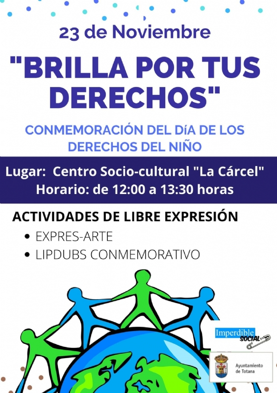 """La Asociación Imperdible Social y Juventud organizan el 23 de noviembre la actividad """"Brilla por tus derechos"""" para conmemorar el Día Internacional de los Derechos del Niños, que se celebra hoy"""