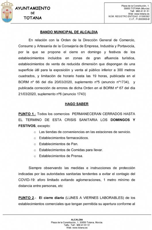 Un Bando de Alcaldía ordena cerrar todos los comercios los domingos y festivos salvo establecimientos de primera necesidad hasta el término de la crisis sanitaria