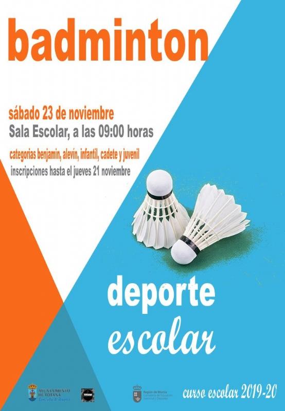 El próximo sábado 23 de noviembre tendrá lugar la Fase Local de Bádminton de Deporte Escolar, organizada por la Concejalía de Deportes