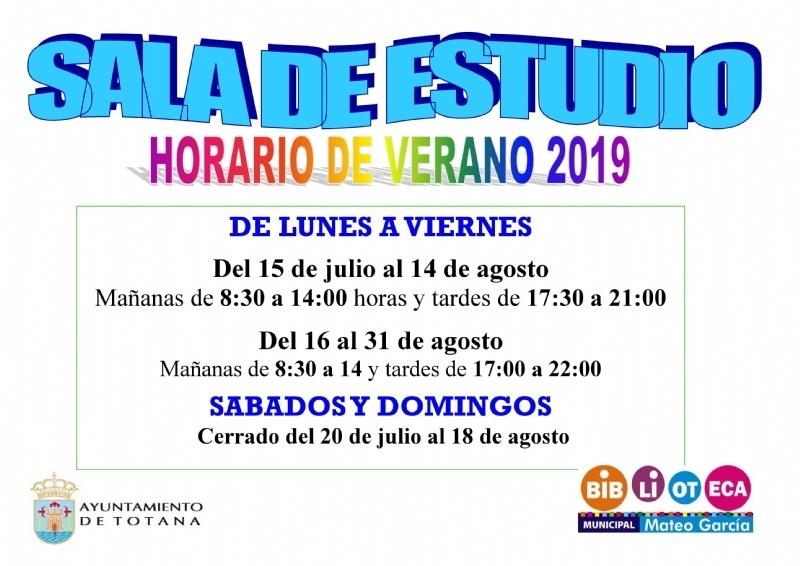 """La Biblioteca Municipal """"Mateo García"""" fija a partir del lunes 24 de junio el nuevo horario de verano, de 8:30 a 14:00 horas"""