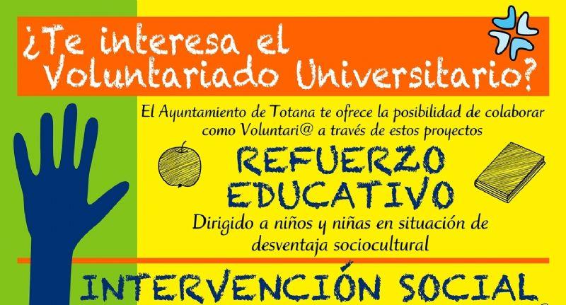 La Concejalía de Juventud oferta, un año más, el programa de Voluntariado Universitario para el curso 2017/2018 en el ámbito del refuerzo educativo y la intervención social