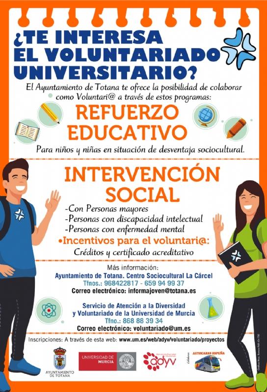 El Ayuntamiento ofrece, de nuevo, a los universitarios de la UMU la posibilidad de participar como  voluntarios en proyectos de interés social para el curso 2019/20