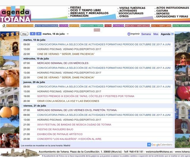 """La """"Agenda Totana"""" de la web municipal corporativa es la sección de media más utilizada por los internautas usuarios de esta aplicación"""
