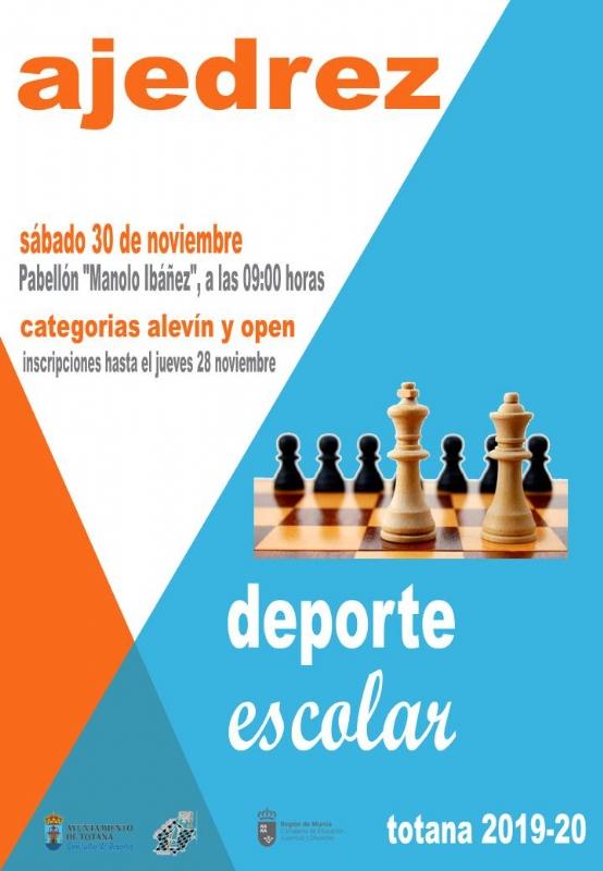 El próximo sábado 30 de noviembre tendrá lugar la Fase Local de Ajedrez de Deporte Escolar, organizada por la Concejalía de Deportes