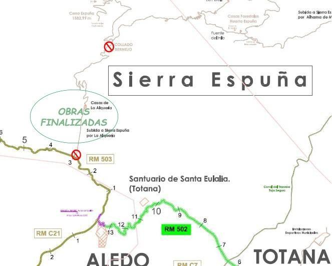 Vuelve a estar abierto el acceso a Sierra Espuña desde la RM-503, subida desde la zona de Las Alquerías hasta el Collado Bermejo tras finalización de las obras