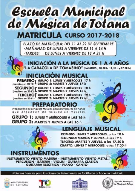 La Escuela Municipal de Música de Totana abre el plazo de matrícula para el curso 2017/2018, del 11 al 22 de septiembre