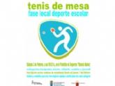 La Concejalía de Deportes organiza la Fase Local de Tenis de Mesa de Deporte Escolar el próximo sábado 3 de febrero, en el Pabellón de Deportes 'Manolo Ibáñez'
