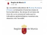 Vídeo. Los centros educativos de Totana, junto a los de Lorca y Lorquí, comenzarán el lunes las clases de forma telemática
