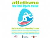 La Concejalía de Deportes organiza la Fase Local de Atletismo de Deporte Escolar el próximo sábado 28 de abril, en el Polideportivo Municipal '6 de diciembre'